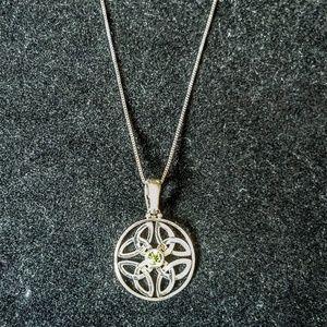 Vintage celtic knot and peridot pendant